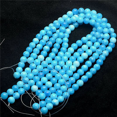 6-12mm Artificial blue white jade Beads DIY Crystal Accessories Long chain Loose