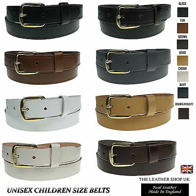 "25mm Plain Real Leather 1"" Belt Sizes 18"" to 30"" Children Thin Belt Made In UK"
