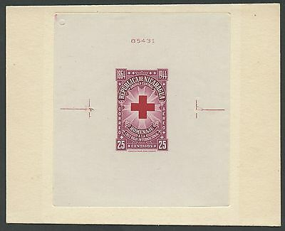 "Nicaragua #c263P ""red Cross"" Die Proof On India Sunk On Card W/ Control # Hv9148"