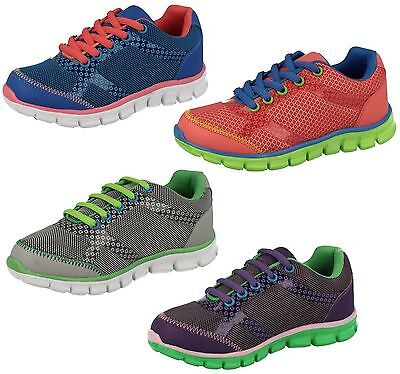 Childrens Reflex Light Weight Lace Up Mesh Trainers UK Sizes 10 - 2 : H2346