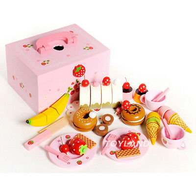 Wooden Pretend Play Toy Cake Icecream and Tea Cutting Set in Carrying Box