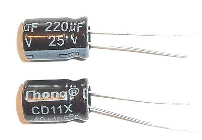 E-Projects - 220uF 25V 105c Radial Electrolytic Capacitor (5 Pcs)