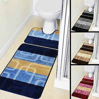 New Bath & Pedestal Mat 2 Piece Toilet Set Non Slip Machine Washable Squares