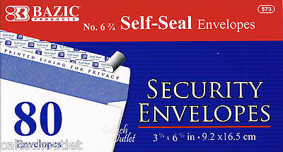 """80 Peel & Self-Seal White Letter Mailing Security Envelopes 3-5/8"""" x 6-1/2"""""""
