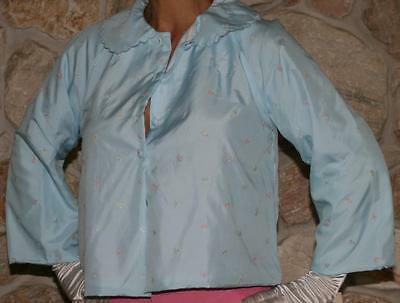 Small Adorable New Wt Baby Blue Vintage Lined Lingerie Bedjacket Top