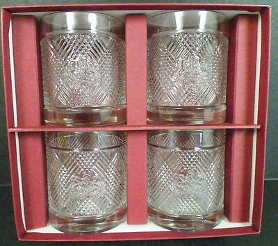 """Set Of 4 Ralph Lauren Safari Signature Collection Whiskey Glasses In Box 4"""" Tall"""