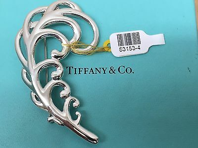 Tiffany & Co Paloma Picasso Feather Pin Brooch Sterling Silver 925