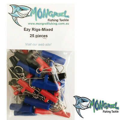 New 25 x Fishing Easy Rigs, Fishing Tackle Hooks, Sinker SLIDER, MIXED BAG