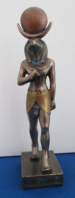 Egyptian Statue Falcon Headed God Horus Standing Figurine Bronze Resin #1404