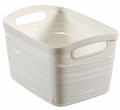 Curver White Ribbon Plastic Storage Carrier Box With Handles 8L