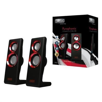 Sweex 2.0 Speaker Set Purephonic 20 Watt ROT USB Computerboxen Lautsprecher