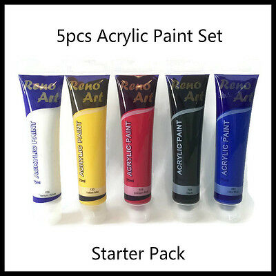 5pcs x 75ml Tubes Acrylic Paint Set Starter Pack Student Paint Artist Quality