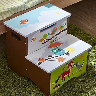 Childrens Enchanted Woodland themed Kids Wooden Step Up Stool with Storage