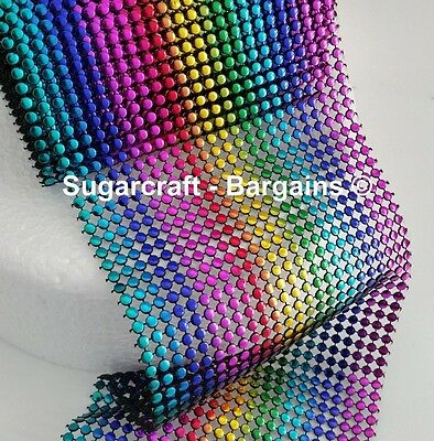 rainbow Bling Ribbon 24 Row multi Colour 1 metre , cakes, craft, sewing, round