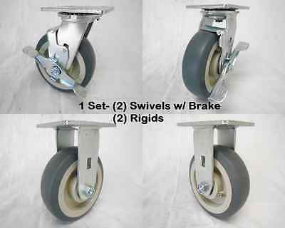 "6"" x 2"" Swivel Caster w/ Brk Thermoplastic Rubber Wheel&Rigid 500lbs Ea Tool Box"