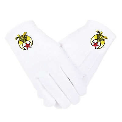 SHRINER GLOVES - EMBROIDERED on WHITE COTTON - 5 SIZES * SM...MD...LG...XL...XXL