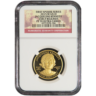 2015-W Proof $10 Gold First Spouse Jacqueline Kennedy NGC PF70UC Early Releases