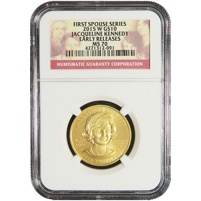 2015-W UNC $10 Gold First Spouse Jacqueline Kennedy NGC MS70 Early Releases