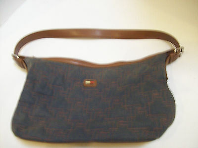 Tommy Hilfiger Hand Bag Purse~Gray Canvas With Brown Faux Leather Base Strap~HH