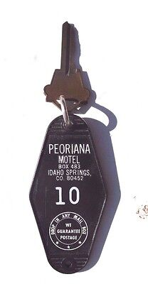 Vintage 1950-1960's PEORIANA MOTELS (Hotel) IDAHO SPRINGS CO 80452 Key & Tag