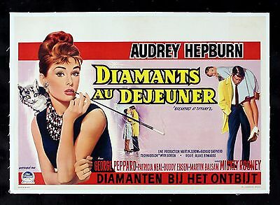 BREAKFAST AT TIFFANYS * CineMasterpieces BELGIUM MOVIE POSTER AUDREY HEPBURN '61