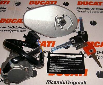 2002-2007 Ducati ignition lock red/black key code set LATE gas cap/SEAT LOCK ST4