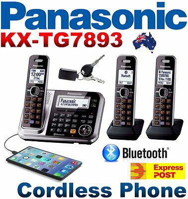 Panasonic KX-TG7893AZS Digital Cordless Phone 3 Handsets Link-to-Cell Key Finder