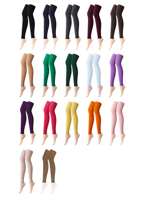 Womens 21 Colours 80 Denier Opaque Footless Pantyhose Stockings Hosiery Tights