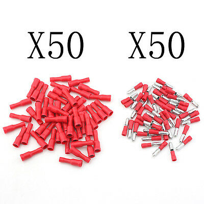 100pcs Female Male Bullet Connector Insulated Crimp Terminals Electrical Wiring