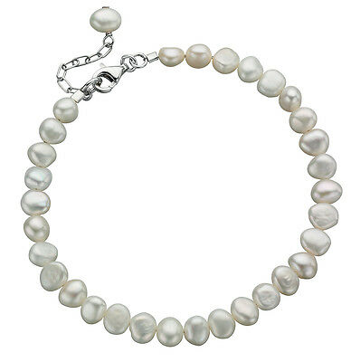 925 Sterling Silver 'Elements Silver' Single Row White Pearl Bracelet