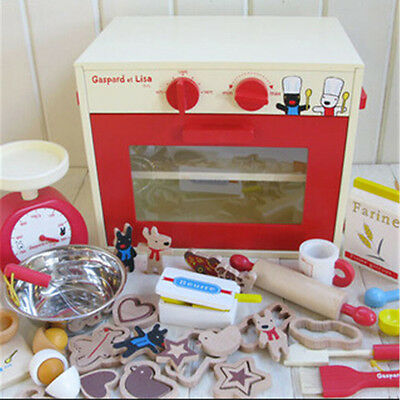 Large Kids Wooden Pretend Play Toy Oven Bakery Toy Set with Accessories