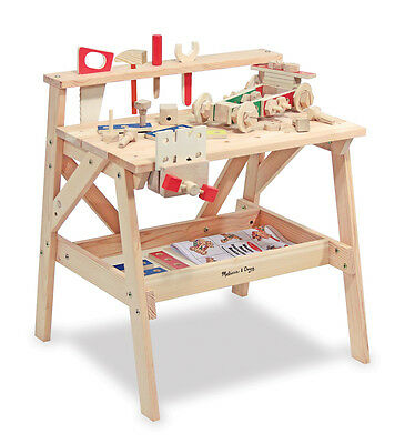 BNIB Large Boys Solid Wood Pretend Workbench with Tools Hardware Work Bench Set