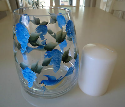 Hand Painted  Blue Lilac and Bird Table Centre Piece/ Vase inc candle