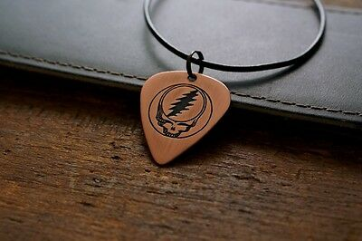 Hand Made Etched Copper Guitar Pick Necklace Steal Your Face - Grateful Dead