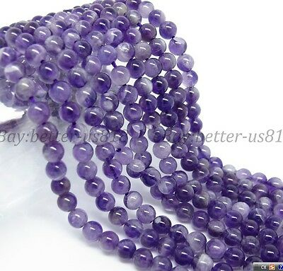 AAA Natural Amethyst Gemstone Round Spacer Beads 15.5'' 4MM 6MM 8MM 10MM 12MM