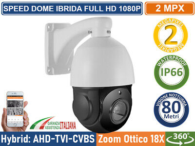 Telecamera Speed Dome Ibrida 4 In 1 Ahd Cvi Tvi Cvbs 18X  2.4 Mpx 1080P Ptz