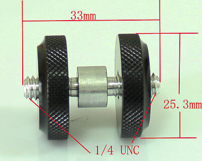 """1/4""""-20 double Male Threaded screw Adapter with adjustable nut for flash camera"""