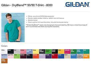 Gildan DryBlend 8000 T-SHIRTS BLANK BULK LOT Colors or White S-XL Wholesale
