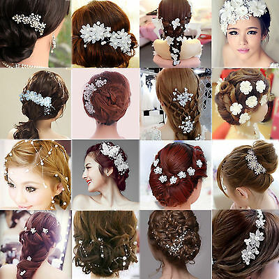 Be Crystal Diamante Rhinestone Flower Pearl Hair Pin Slide Clip Grip Comb Bridal