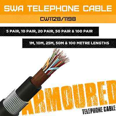 Armoured Telephone Cable 5 Pair - 100 Pair External Bt Cable Swa Cw1128 / 1198