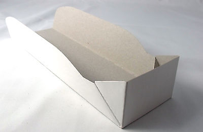 "100pc Paper Tray sub sandwich 8.8""x2.75""x1.8"" foldable rectangular white paper"