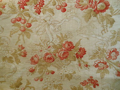 Antique Roses Basket Fruit Bows Cotton Fabric ~ pink red brown~pillow quilt doll