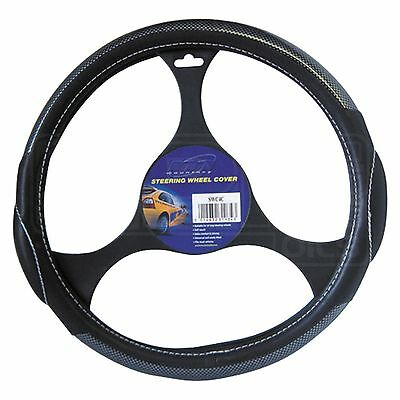 Steering Wheel Cover - SWC4C - Mountney - Black Leather / Carbon