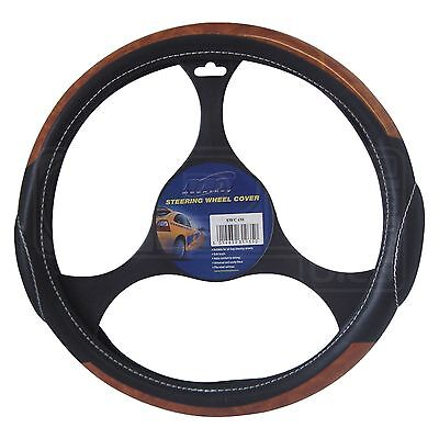 Steering Wheel Cover Black Leather / Wood Effect - SWC4W - Mountney