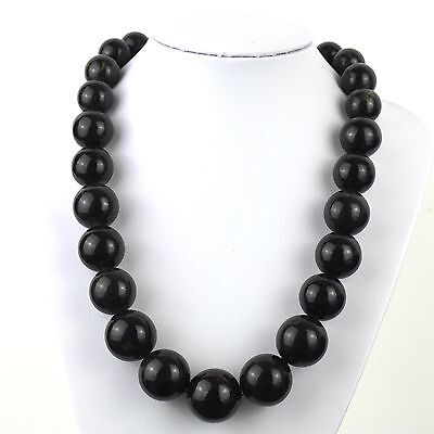 """134 g Baltic dark amber round graduated beads necklace from 25-17mm 550mm/22"""""""