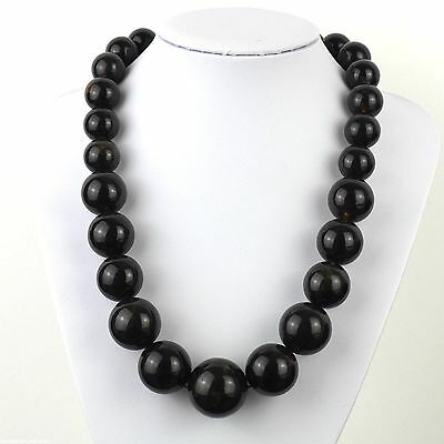 """133 g Baltic dark amber round graduated beads necklace from 27-17mm 550mm/22"""""""