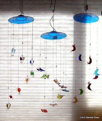 Glass Moon & Stars, Humming Birds, Butterflies or Sea Life Mobiles