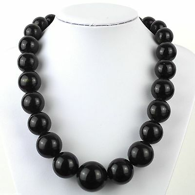 """130.7 g Baltic dark amber round graduated beads necklace from 27-17mm 550mm/22"""""""