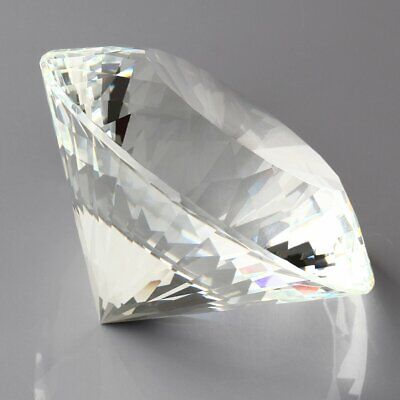 Big 80mm Crystal White Paperweight Cut Glass Large Giant Diamond Jewel Aspect