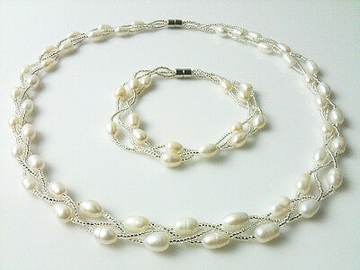 Nature true 6-7mm Fresh Water cultural Pearl necklace bracelet set